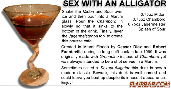 Drink sex with an aligator